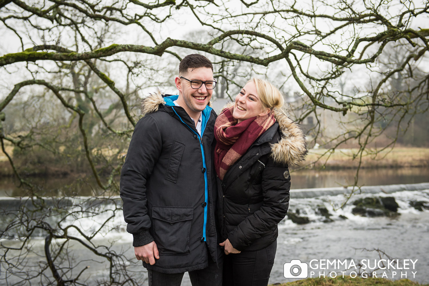 couple laughing at Linton Falls on their pre-wedding photo shoot