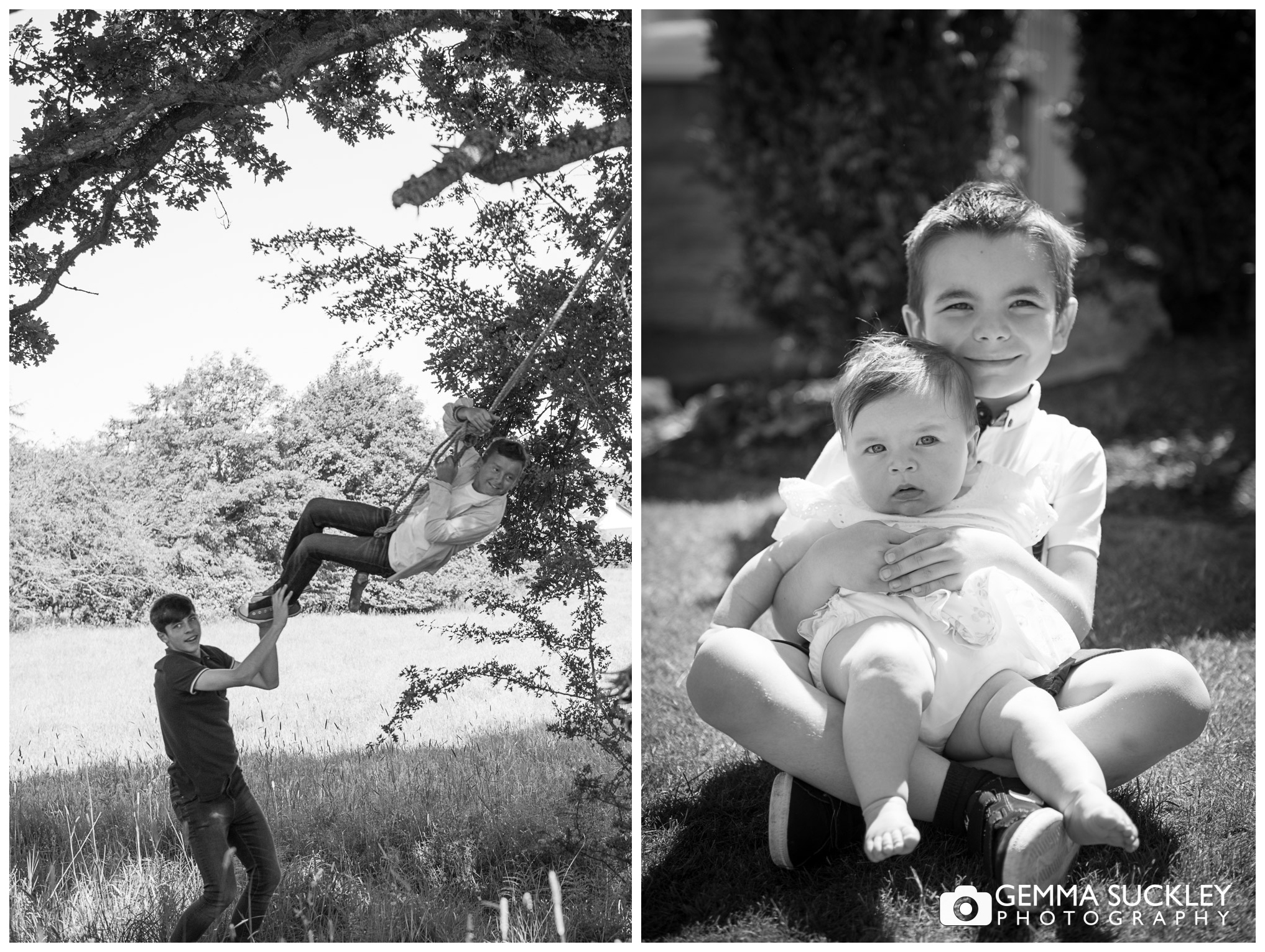 kids playing during natural outdoor family photo shoot In Menston