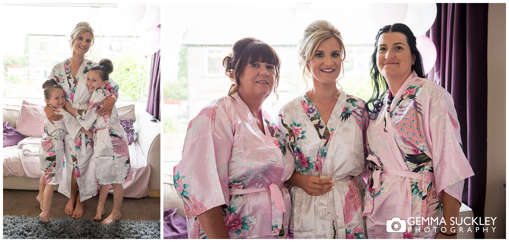 bride smiling with flower girls in dressing grown