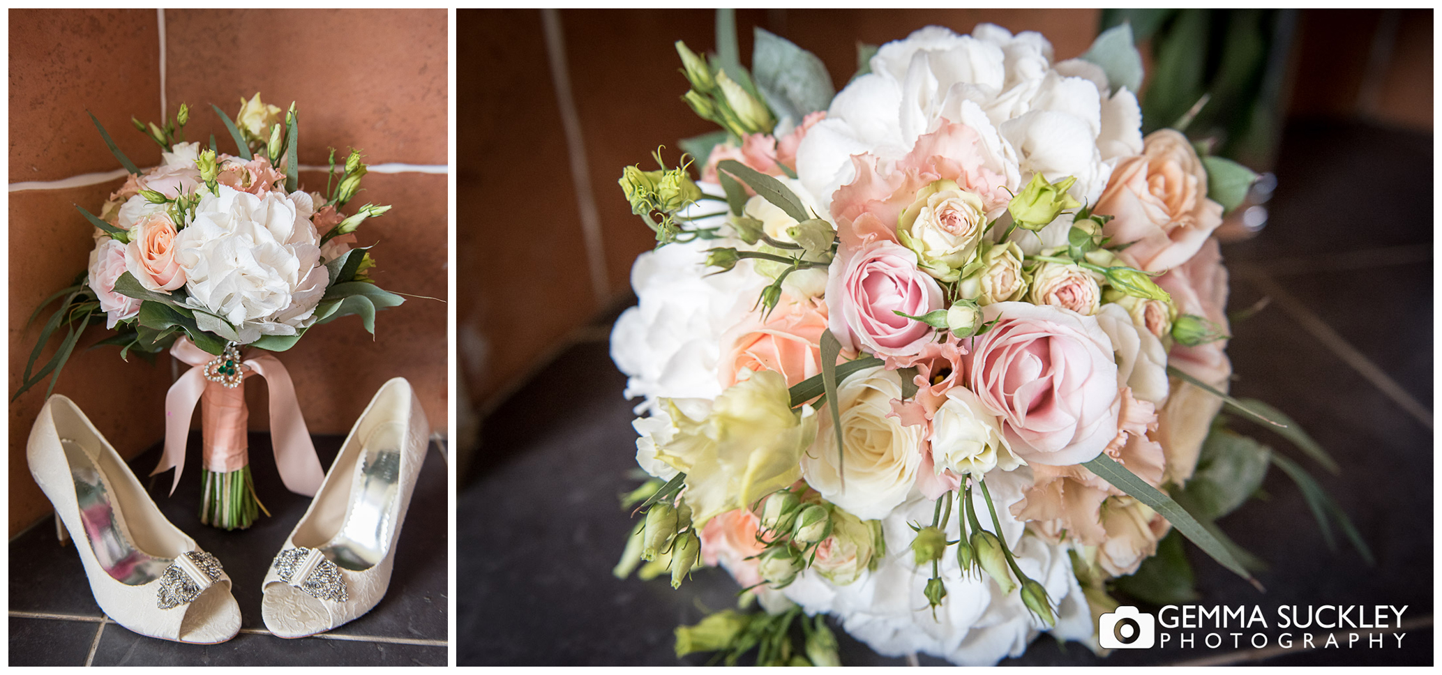 wedding shoes and wedding bouquet