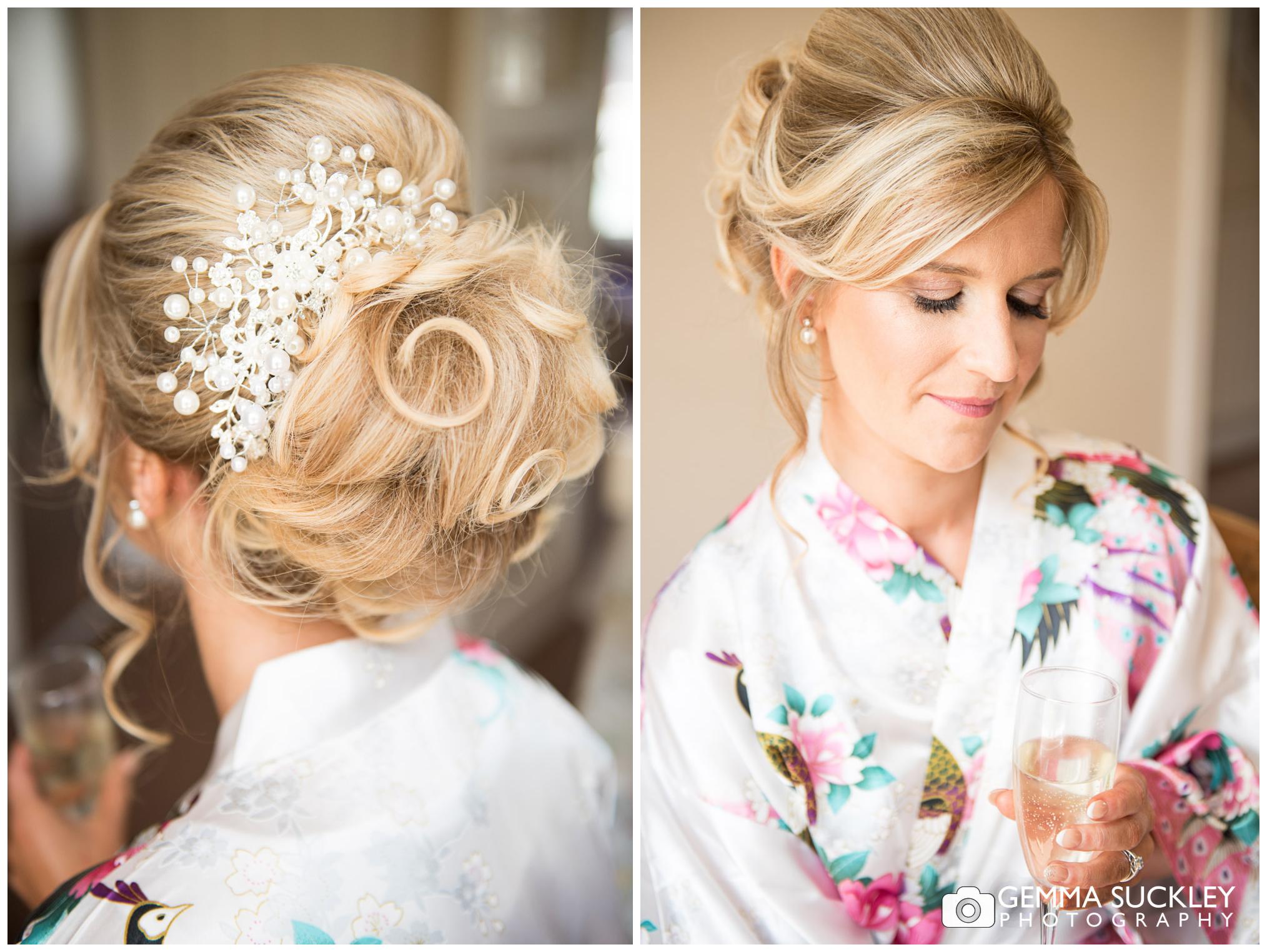 wedding photography of bridal hair and make-up