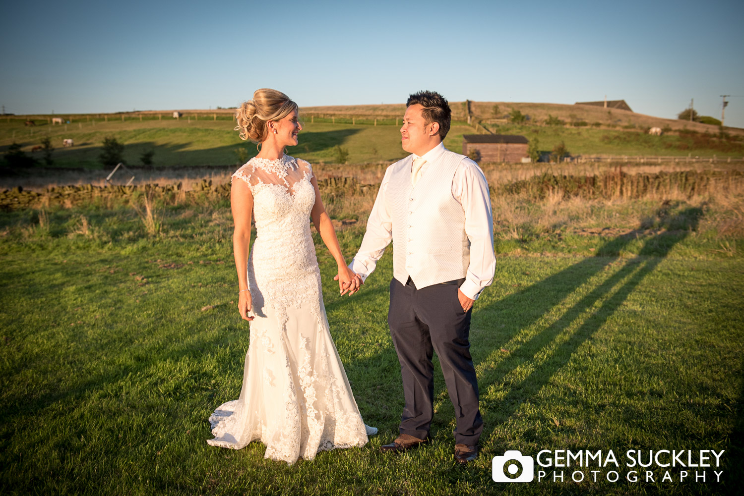 Bride and groom at Golden hour outside the Moorlands Inn