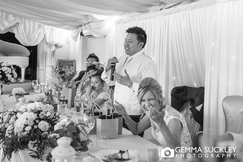 groom making his speech at The moorlands Inn wedding venue