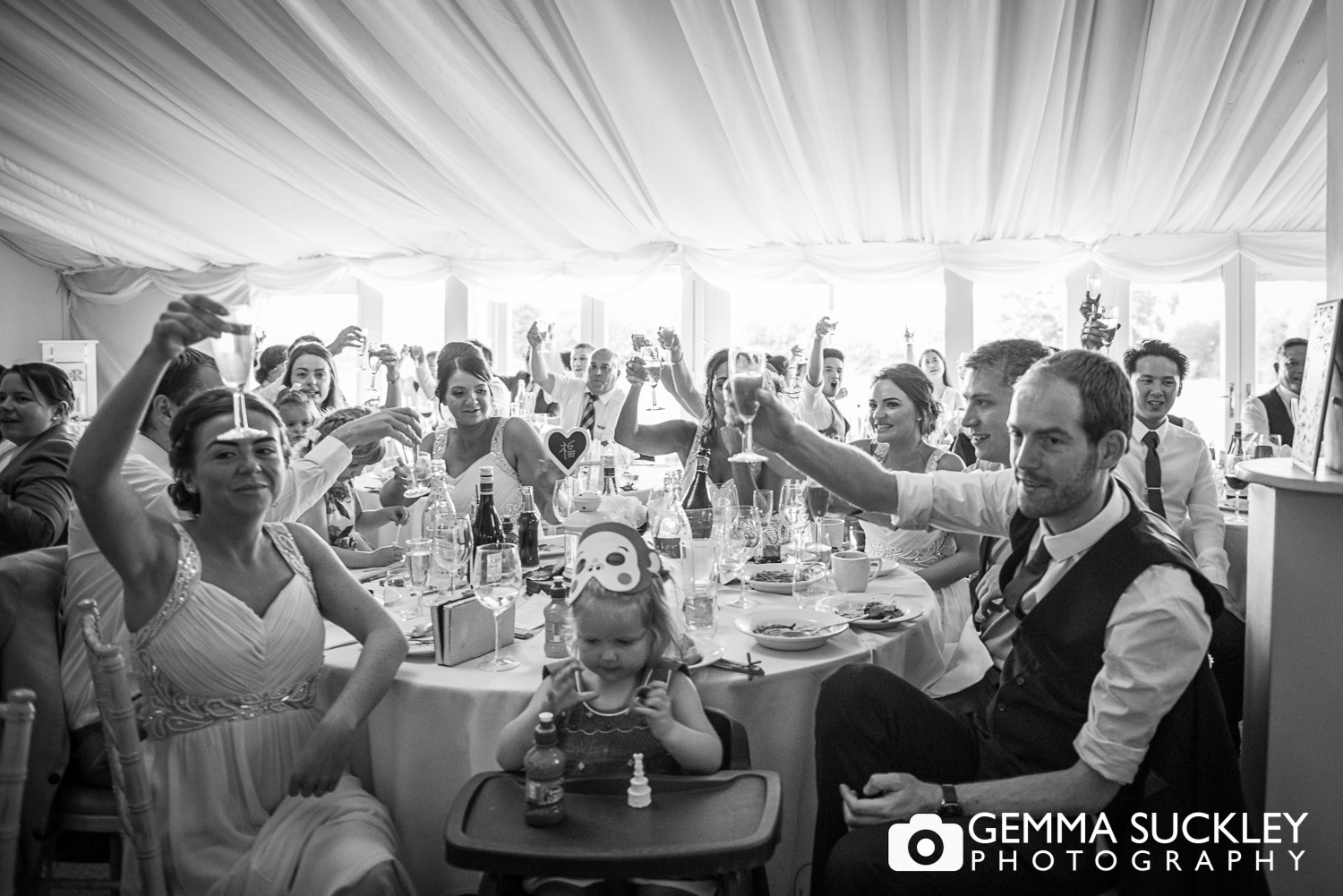 wedding guest in the marquee at the Moorlands inn, Halifax