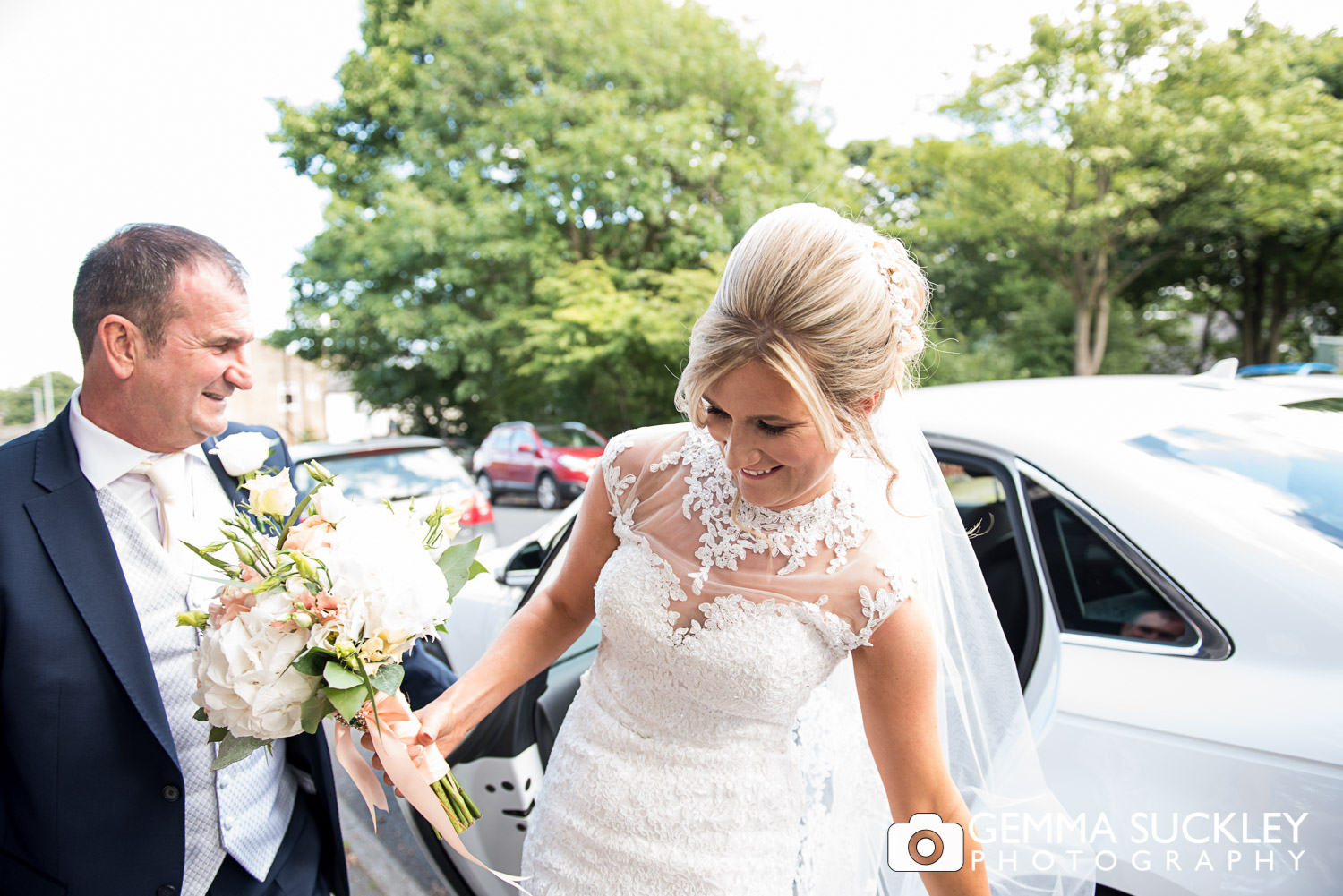 bride arriving at St John's church in Clayton