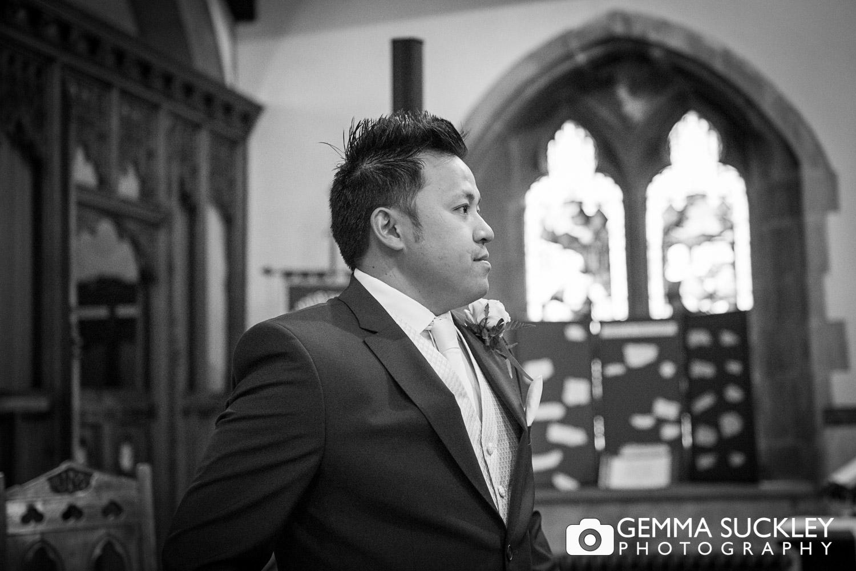 groom-wating-for-his bride-at-st-John's-church-Clayton