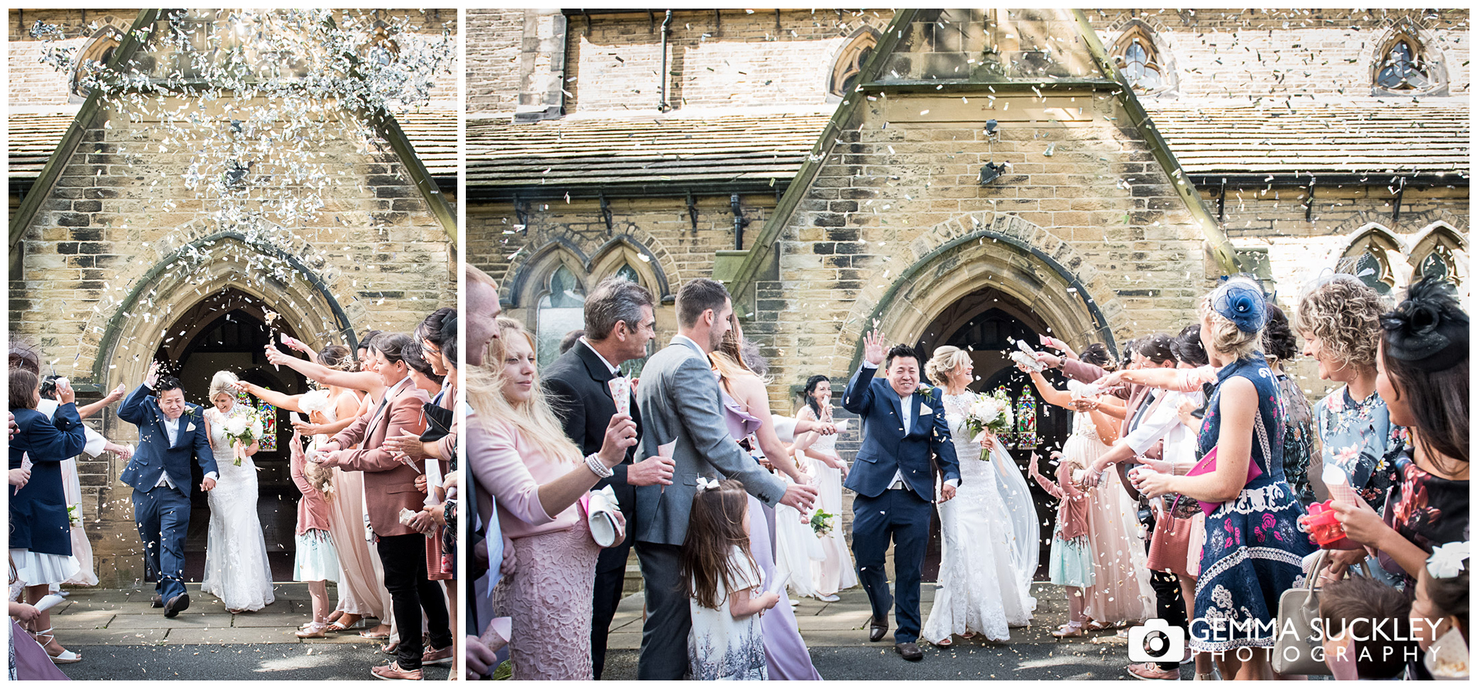 wedding photography of confetti thrown at the newly-weds