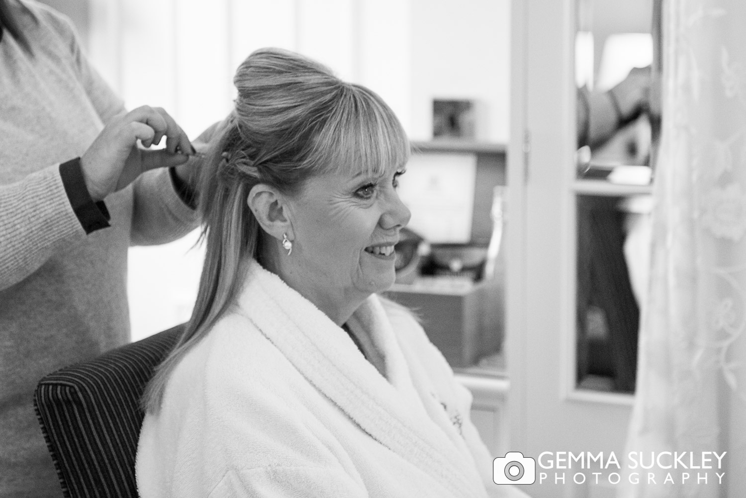Bride getting her hair done at The Devonshire Arms, Bolton Abbey
