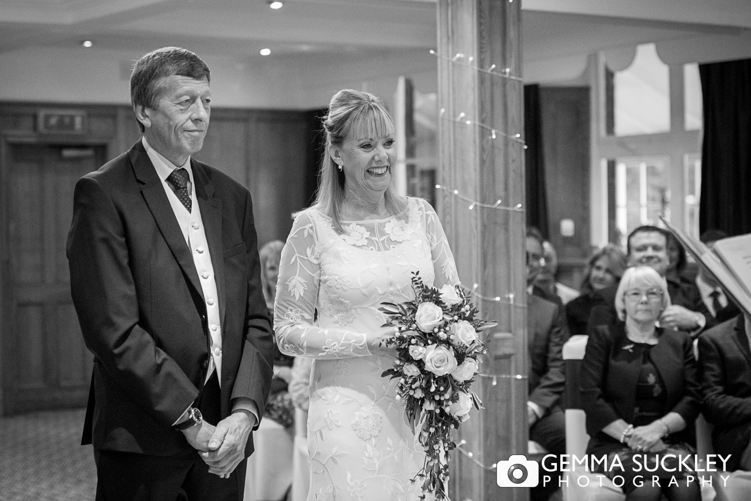 Bride and groom during their wedding ceremony at the Devonshire arms in Bolton Abbey