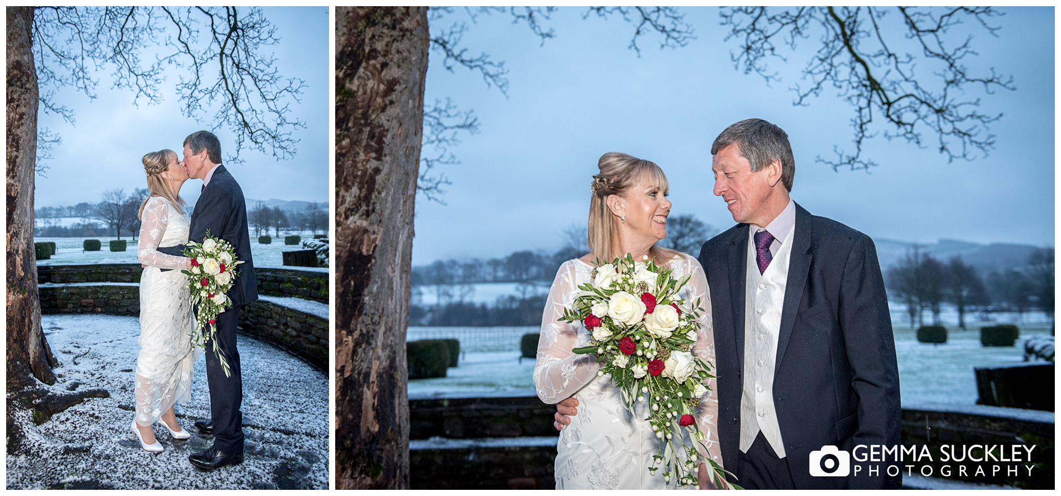 snowy christmas wedding photo outside the devonshire arms bolton abbey