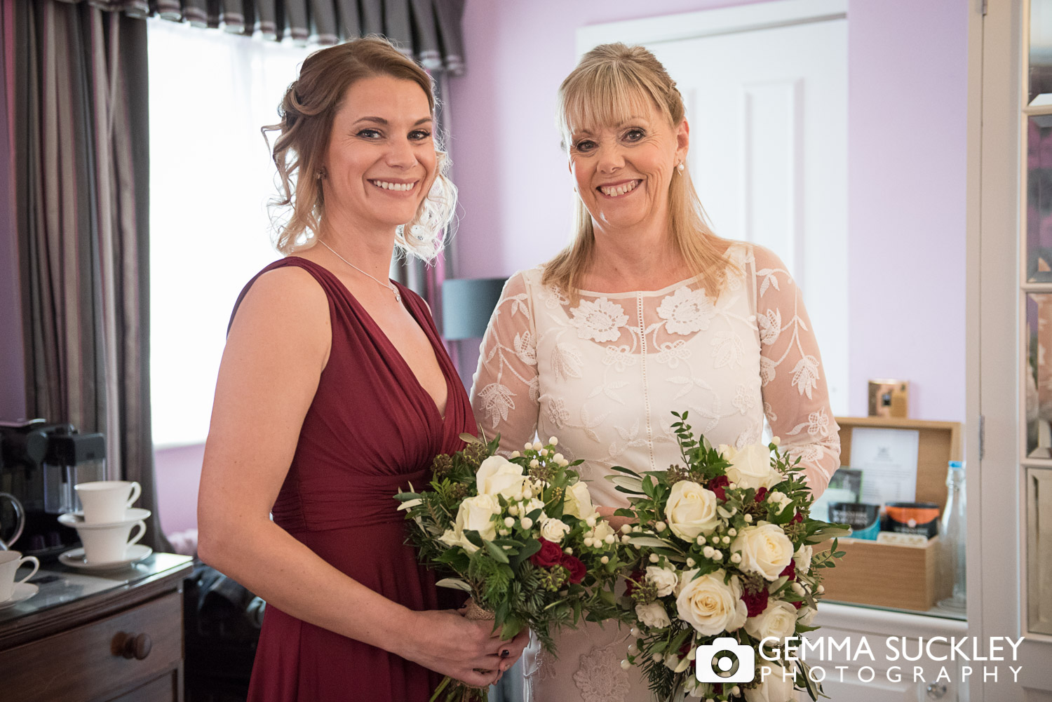 bride with daughter at Bolton Abbey wedding