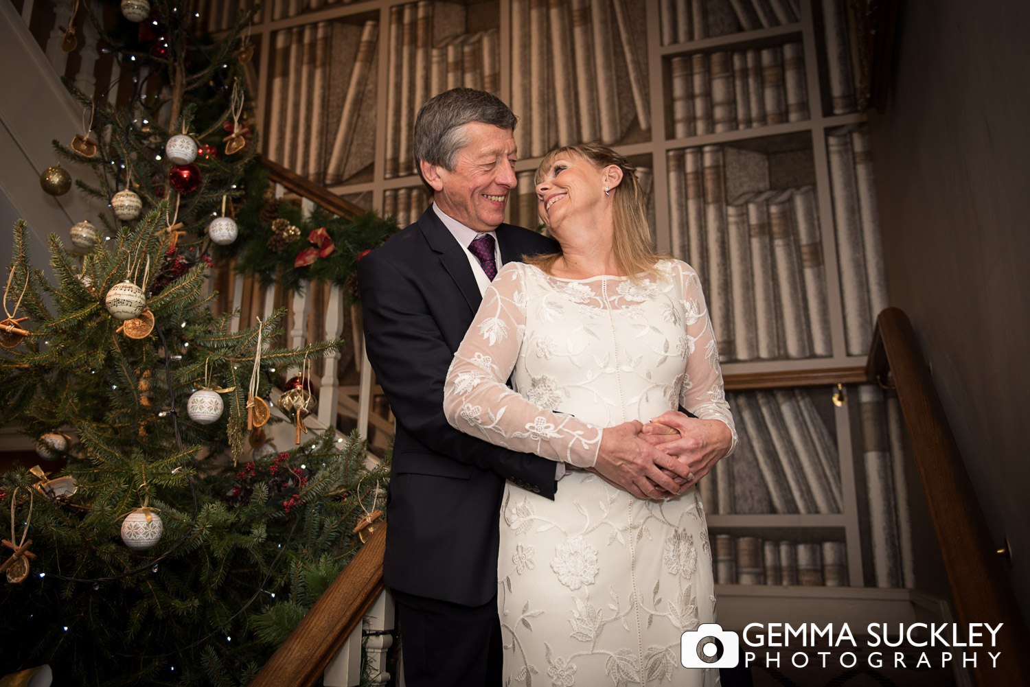 bride and groom at their Christmas wedding in The Devonshire Arms, Bolton abbey
