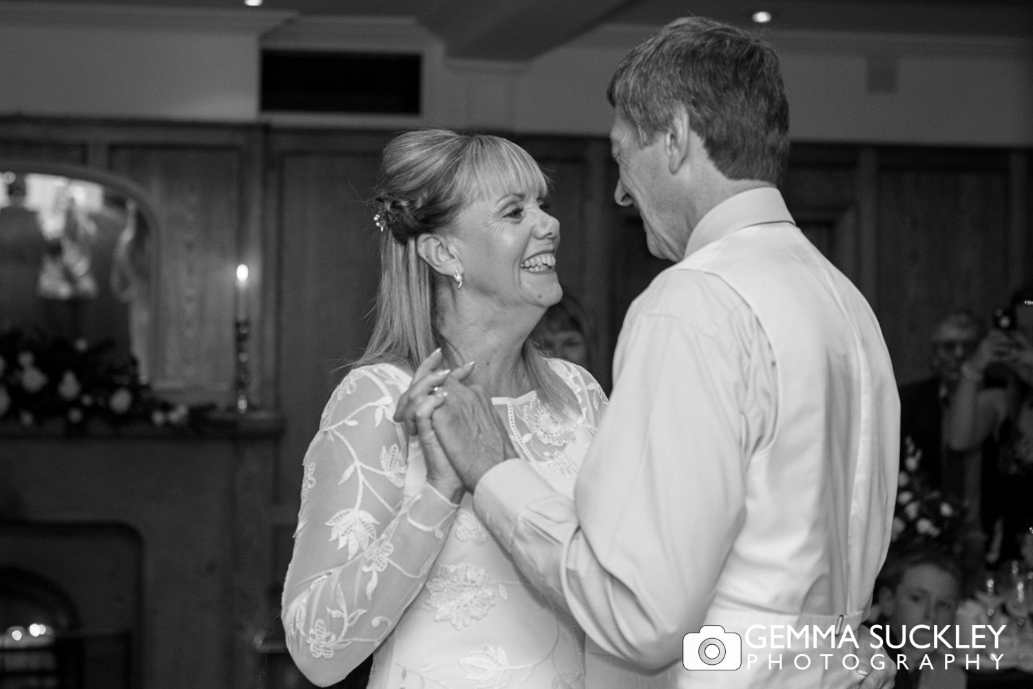 bride and groom during their first dance at The Devonshire Arms in Bolton Abbey