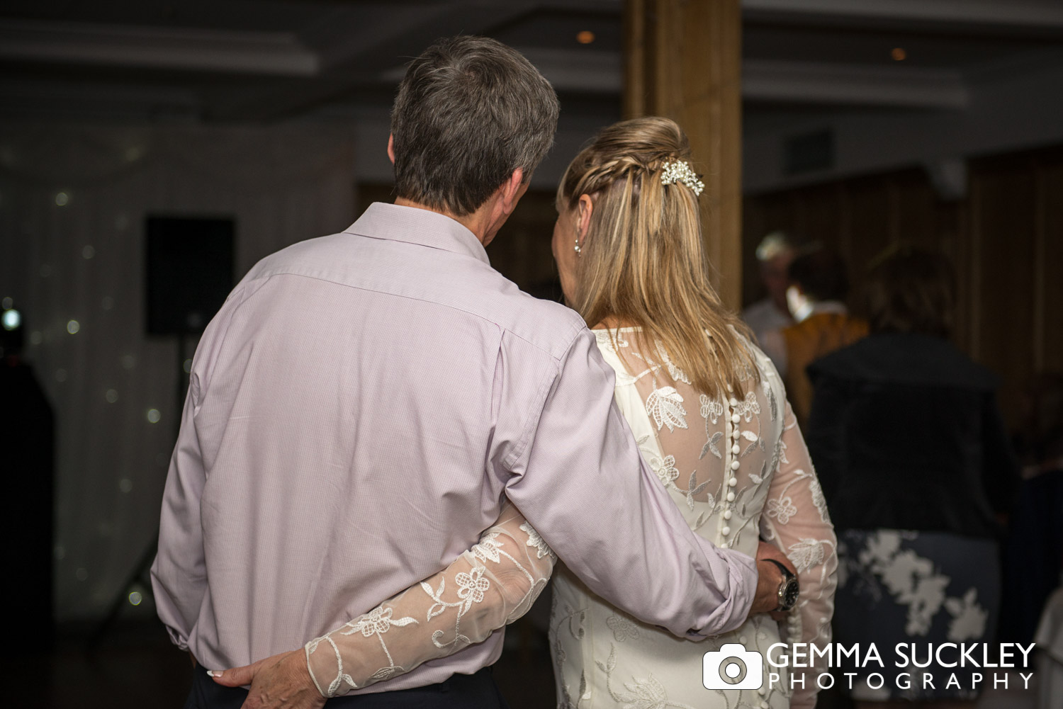 bride and groom at their wedding reception at the devonshire arms