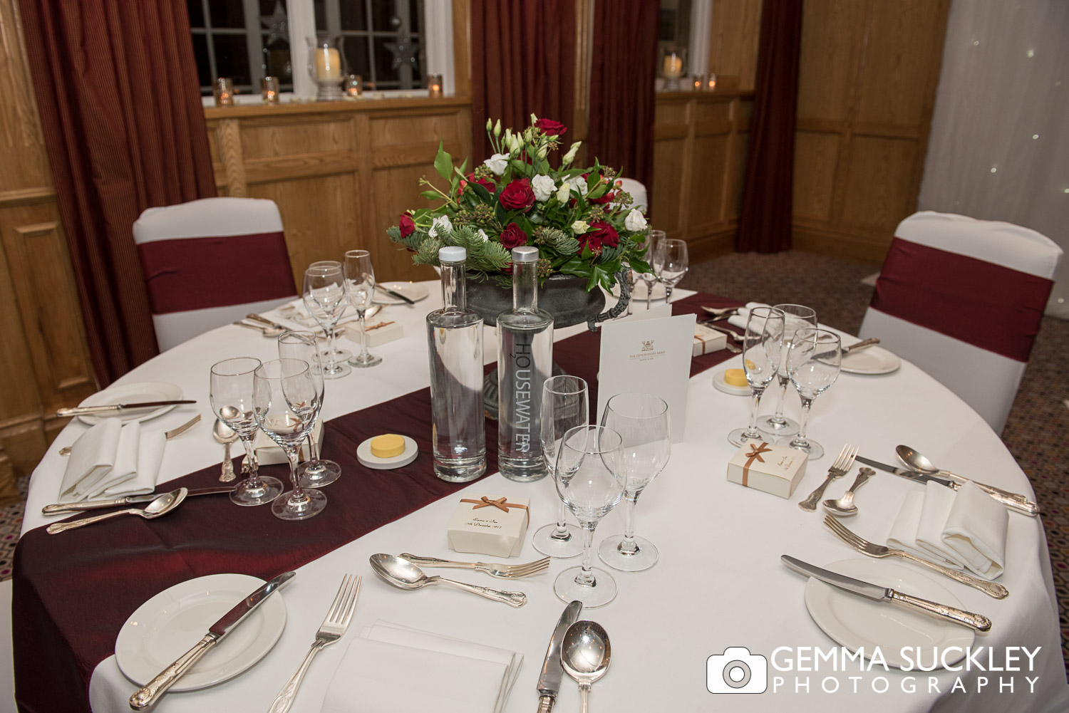 Wedding breakfast seating at the devonshire arms at bolton abbey