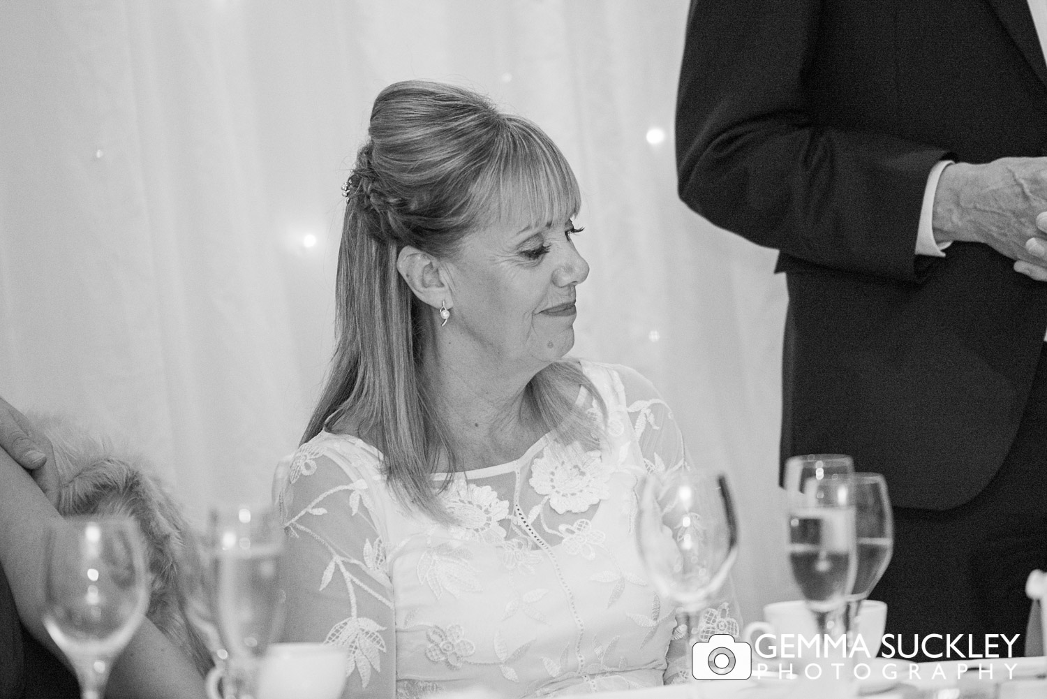 bride during wedding speeches at the Devonshire arms