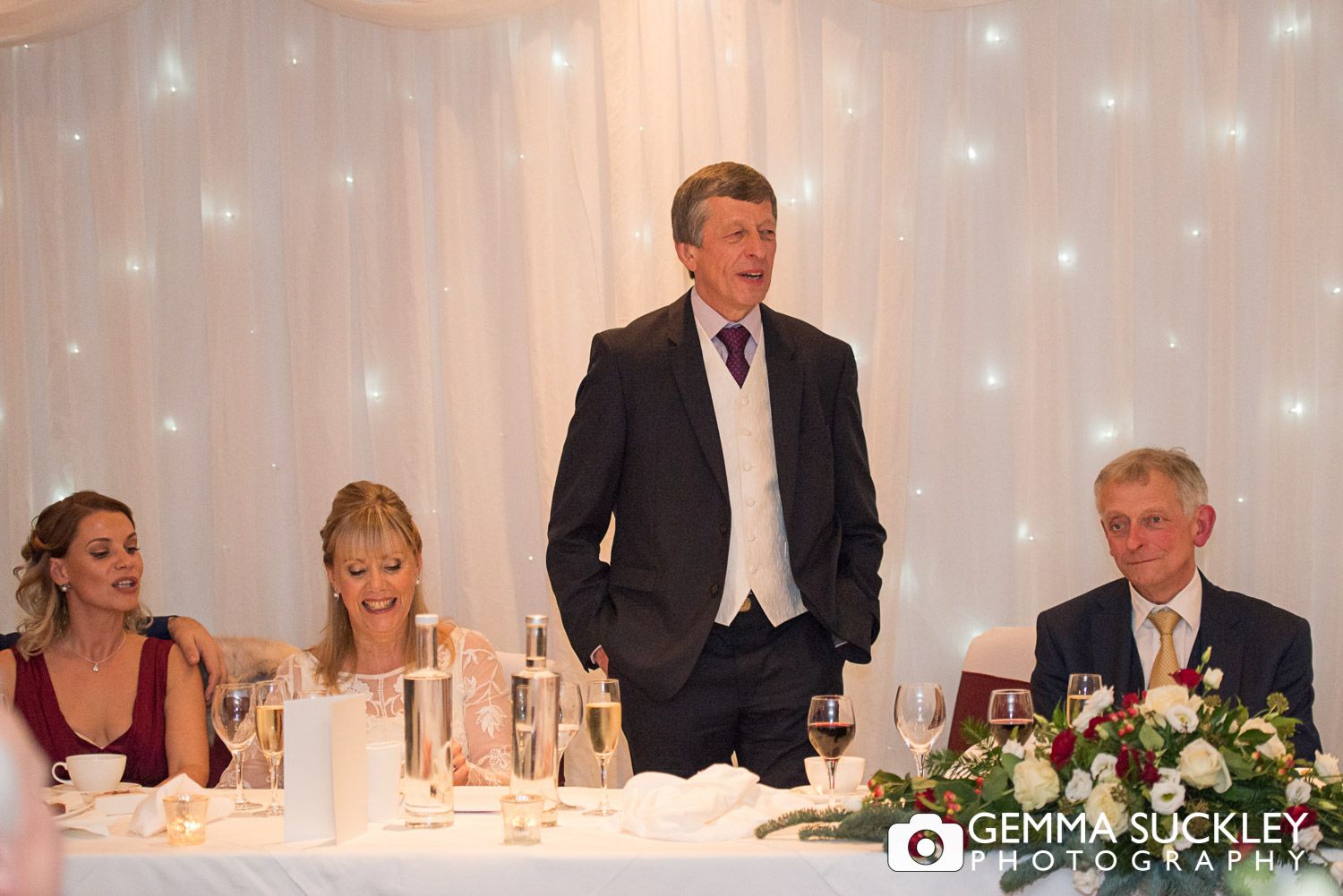 groom making his wedding speech at the devonshire arms in bolton abbey