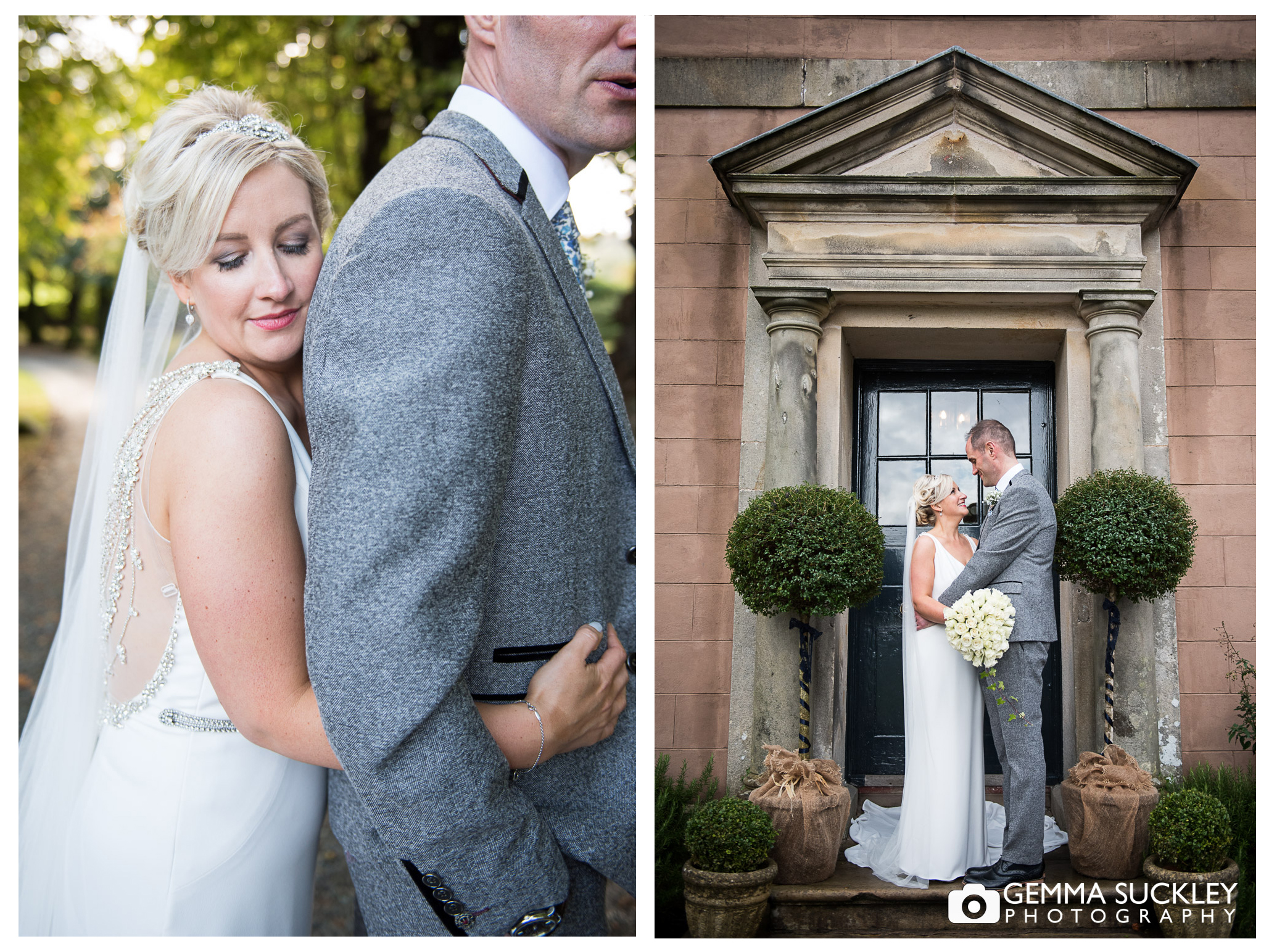 bride and groom on the doorstep at Belmount hall