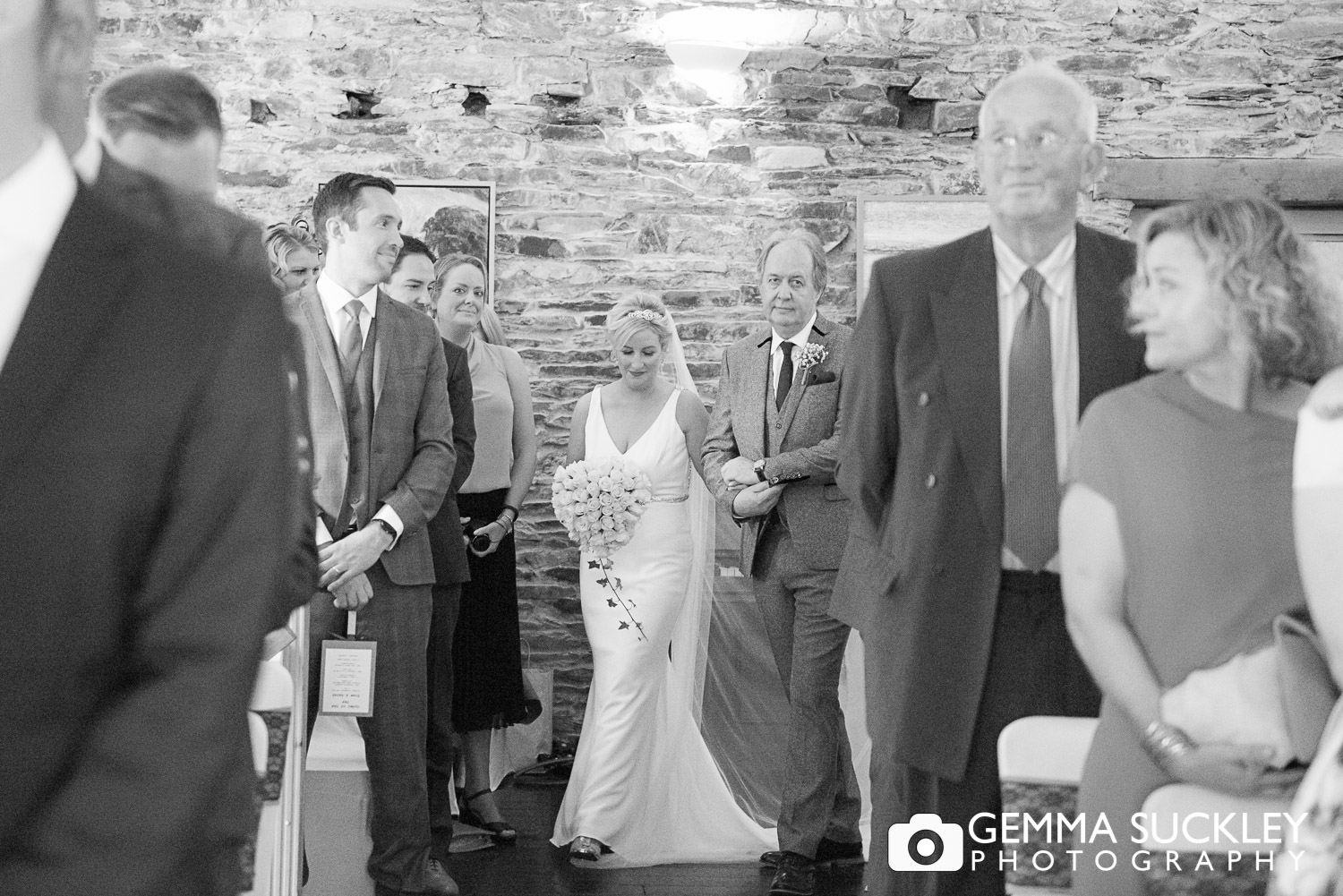 Bride walking down the aisle at Belmount Hall