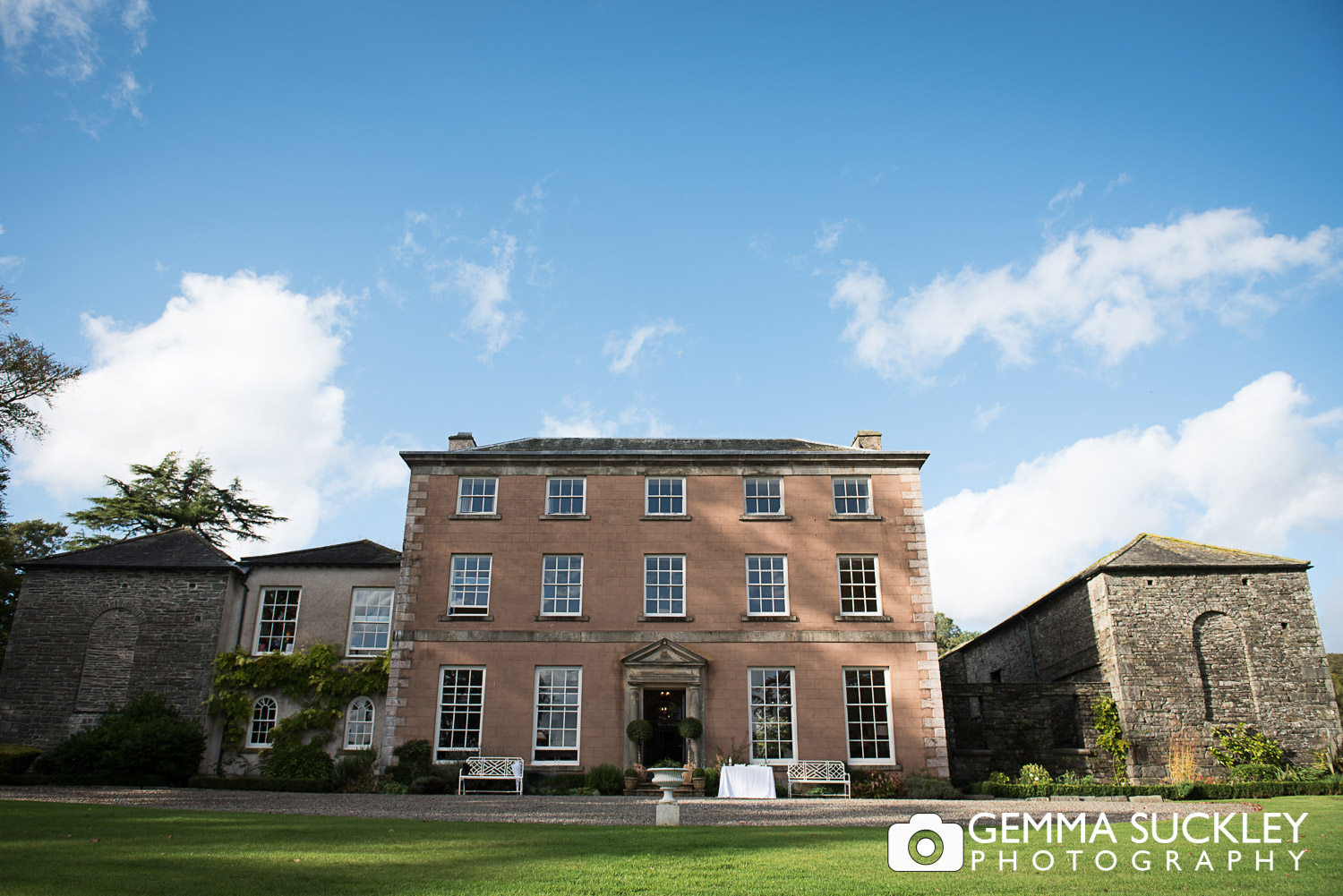belmount Hall wedding Venue on a sunny day