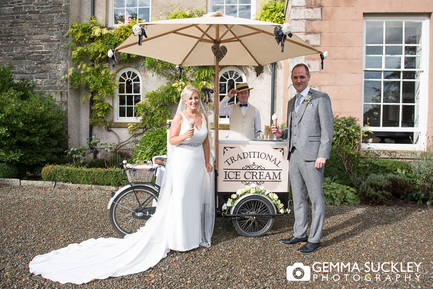 bride and groom at Belmount Hall with ice cream cart