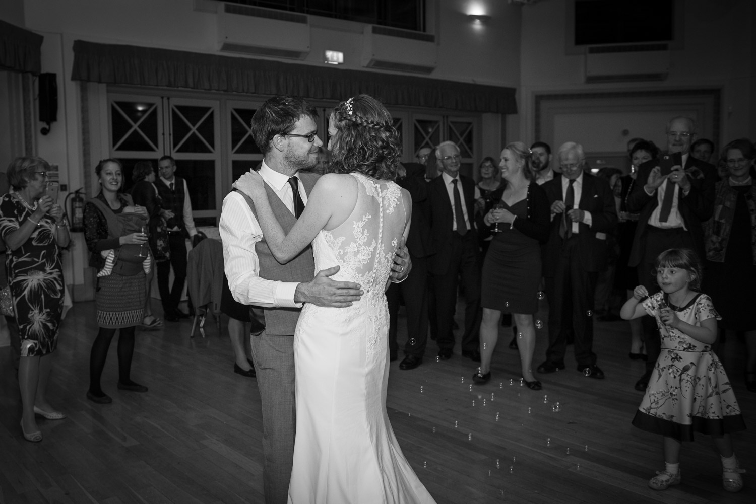 bride and groom having thir first dance at Sun Pavilion in Harrogate