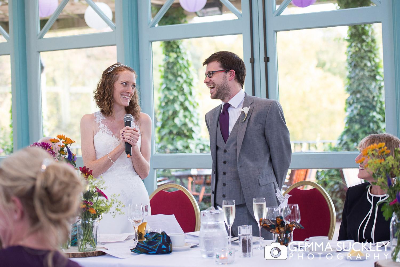 bride making a speech at the sun Pavilion
