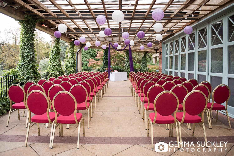 outdoor wedding ceremony set up at Sun pavilion