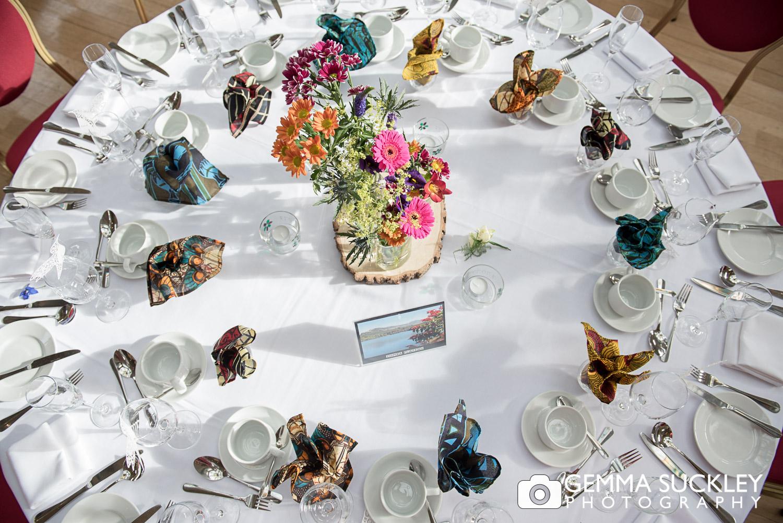 close up photo of wedding table design at Sun Pavilion