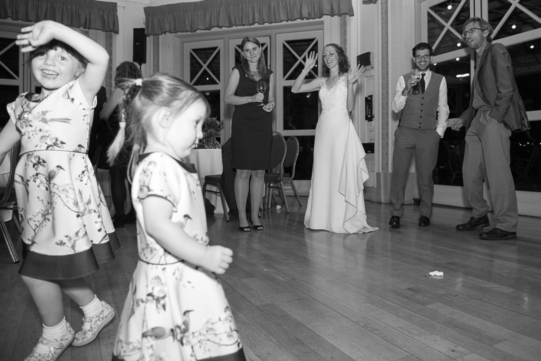 flower girls dancing at Sun Pavilion wedding reception