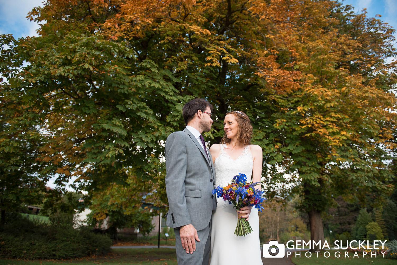 Autumn wedding photos in Valley Garden's in Harrogate
