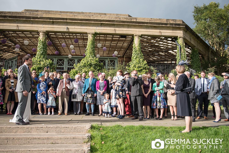 wedding reading outside the Sun Pavilion in Harrogate
