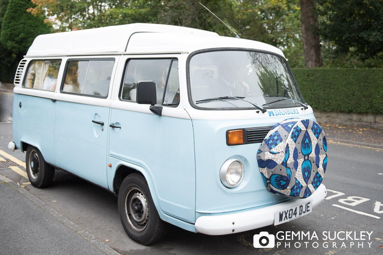 wedding VW camper van arriving at the Sun Pavilion