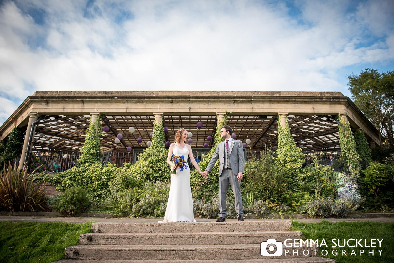 bride and groom outside the Sun pavilion in Harrogate