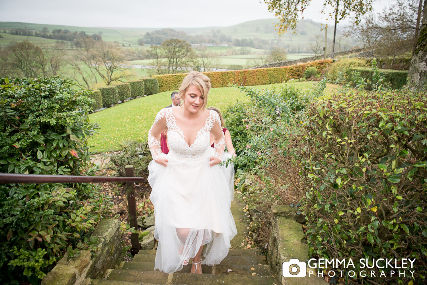 Bride arrive at the Devonshire Fell Hotel
