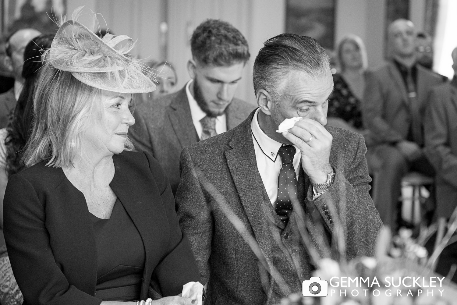 father of the bride crying at The Devonshire Fell wedding in Burnsall