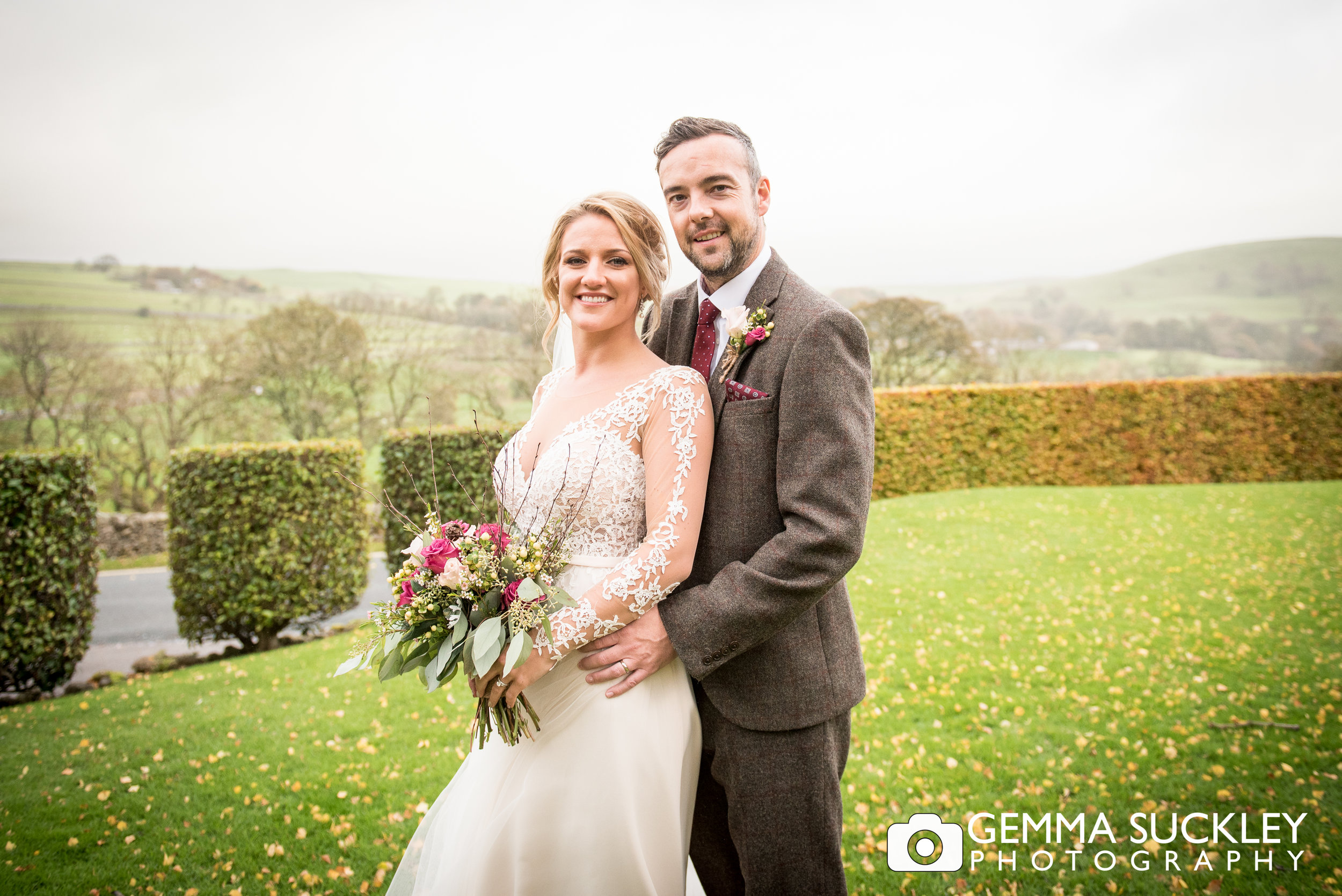 the bride and groom in Burnsall