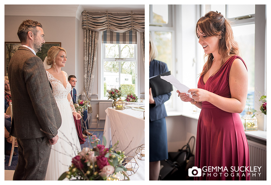 bridesmaid giving a reading during the wedding ceremony