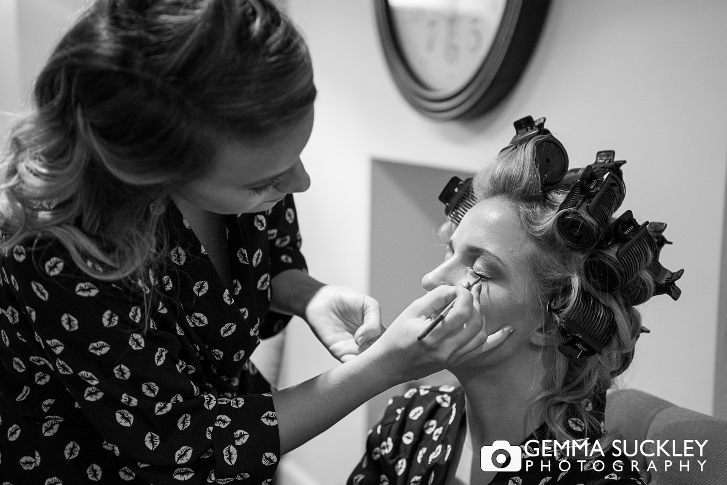 Yorkshire bride getting her make-up put on