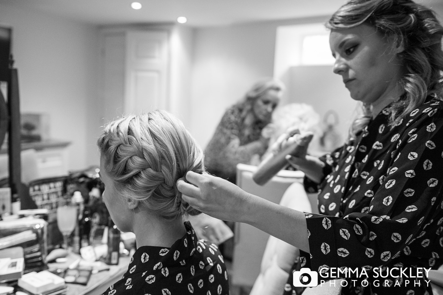Yorkshire bride getting her hair done