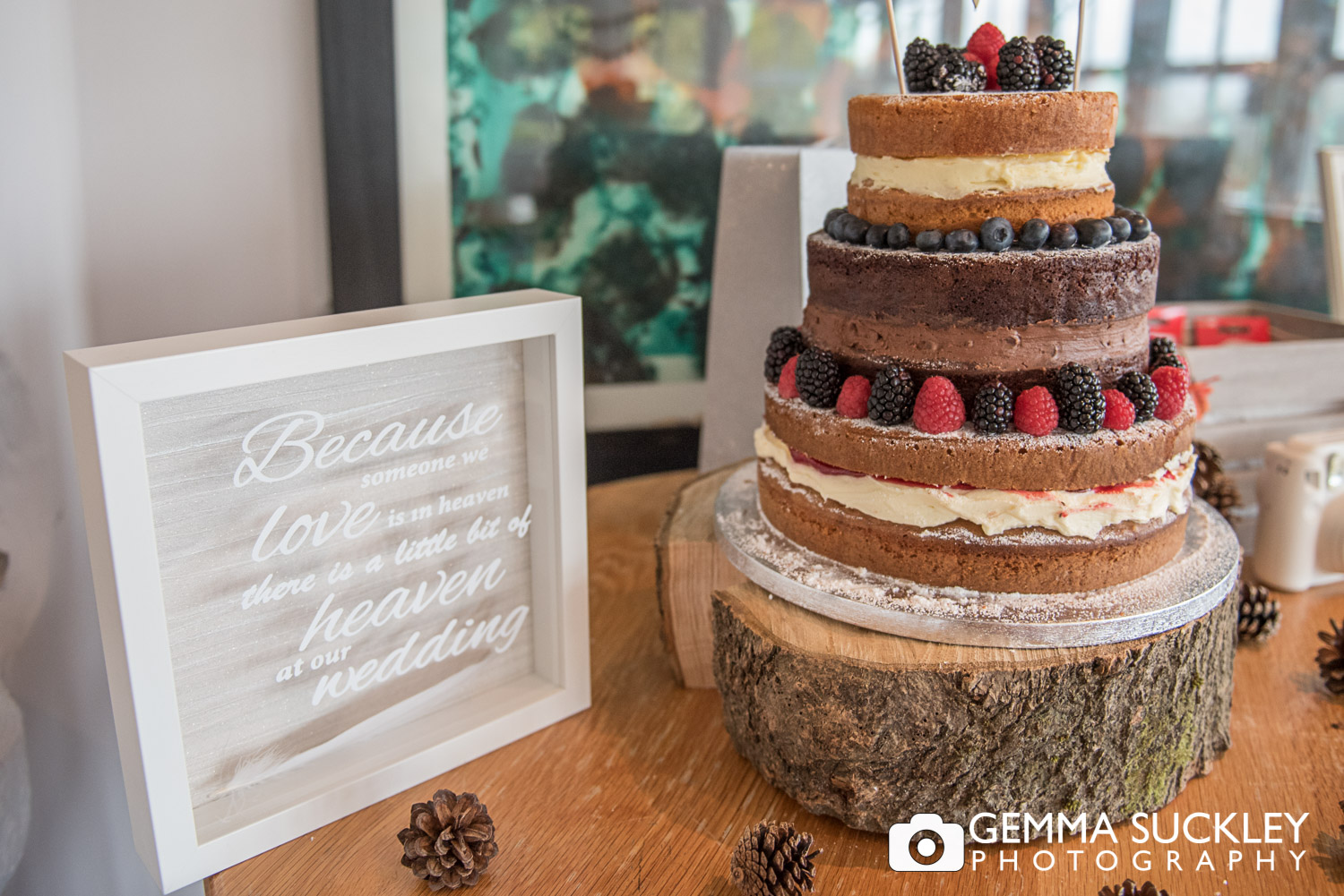 autumn themed wedding cake at the Devonshire Fell Hotel