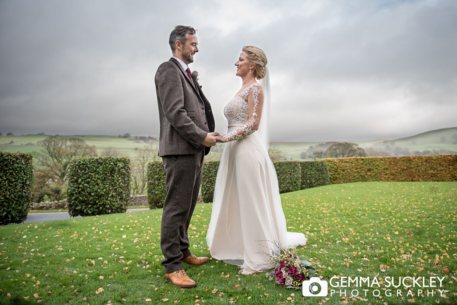 bride and groom at the Devonshire Arms in Burnsall wedding