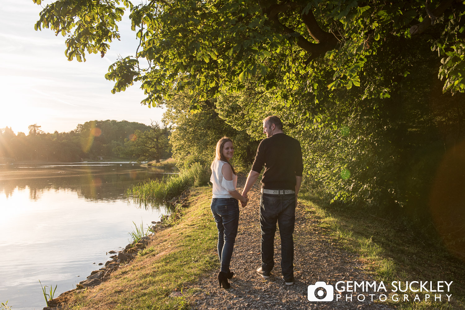 golden hour photo shoot of a couple at Coniston Hall
