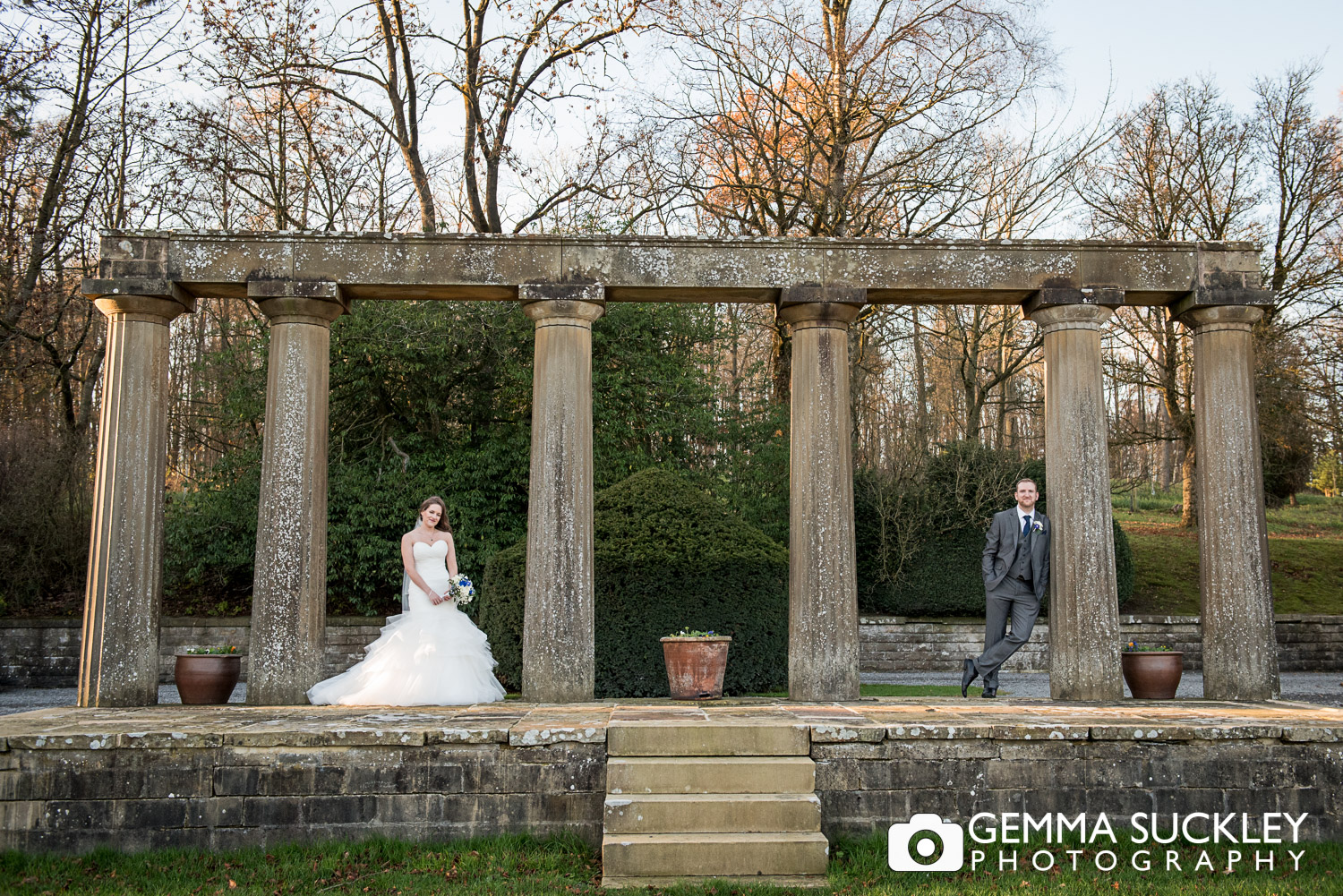 bride and groom at the ruins of Coniston Hall Skipton