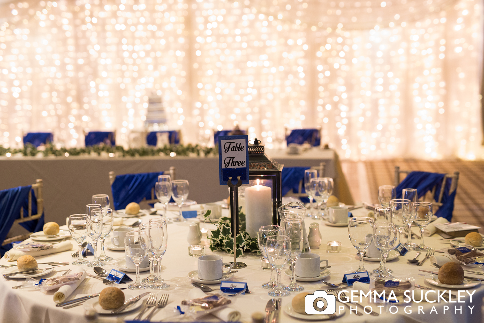 Wedding table details at coniston hotel in skipton