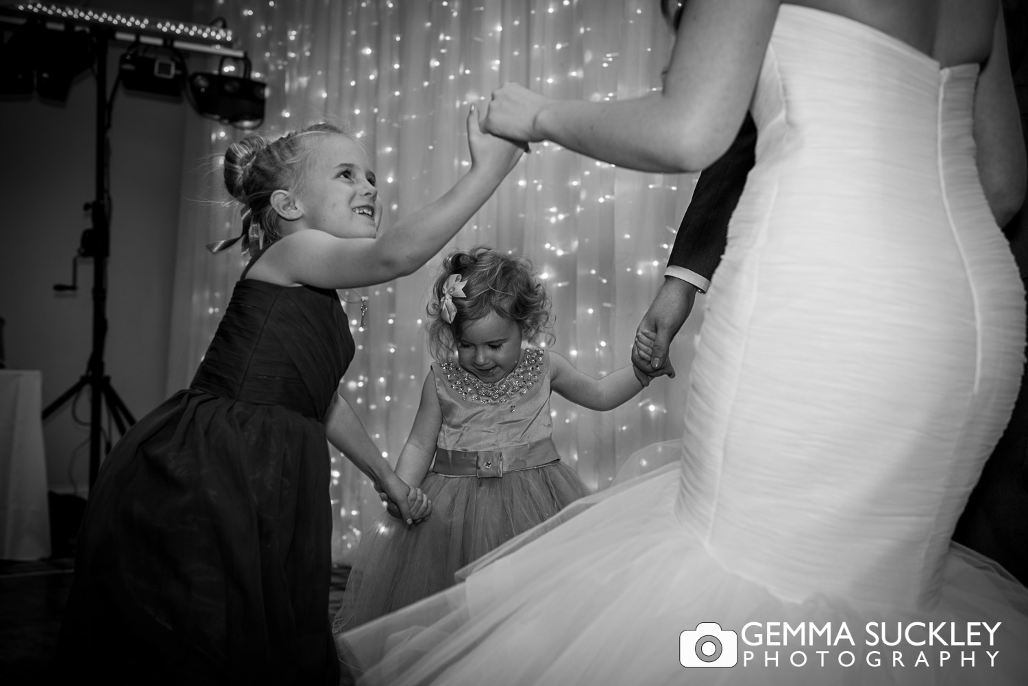 dancing bride and flower girl at Coniston hotel wedding reception