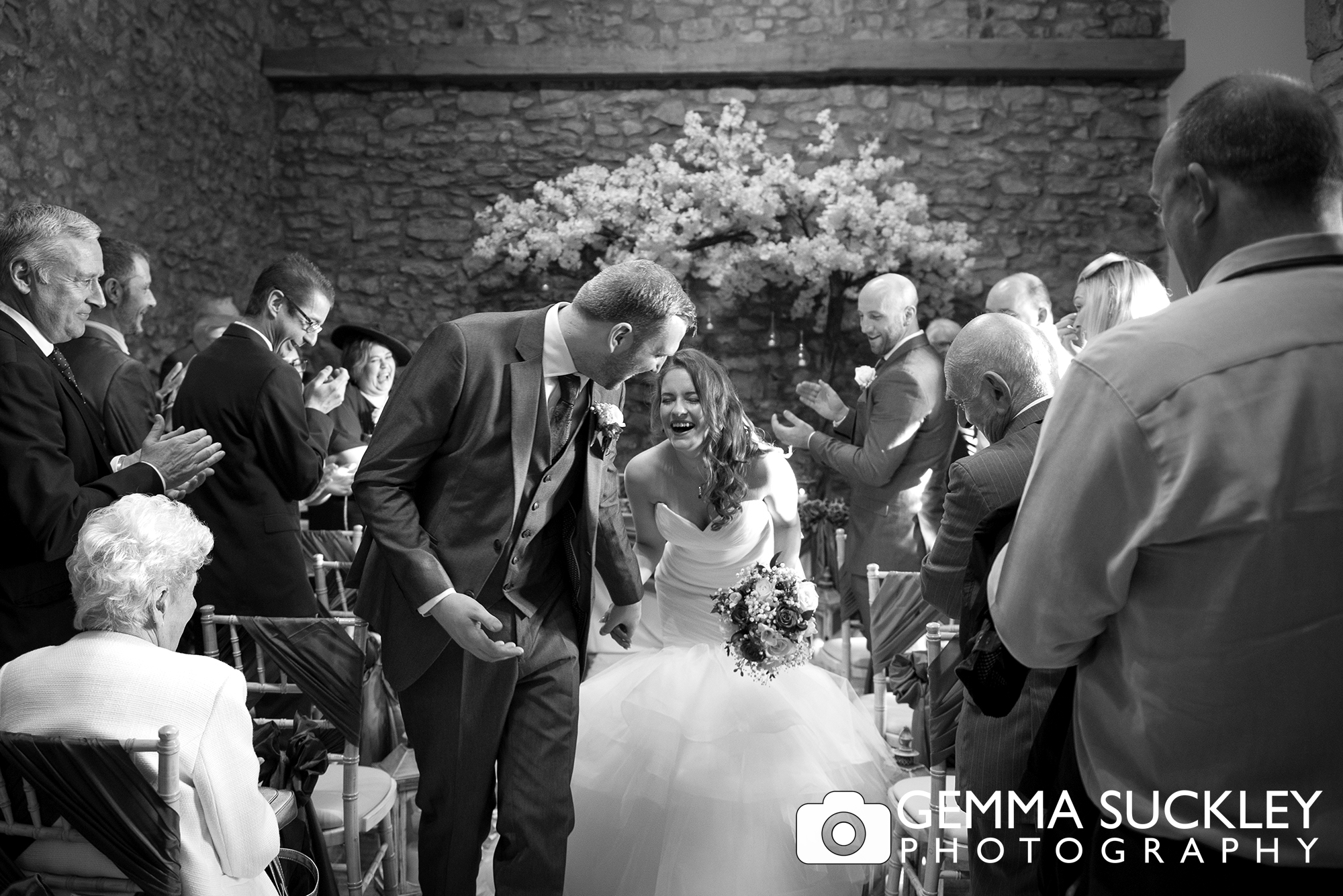 Bride and groom just married at Coniston Hotel in Skipton