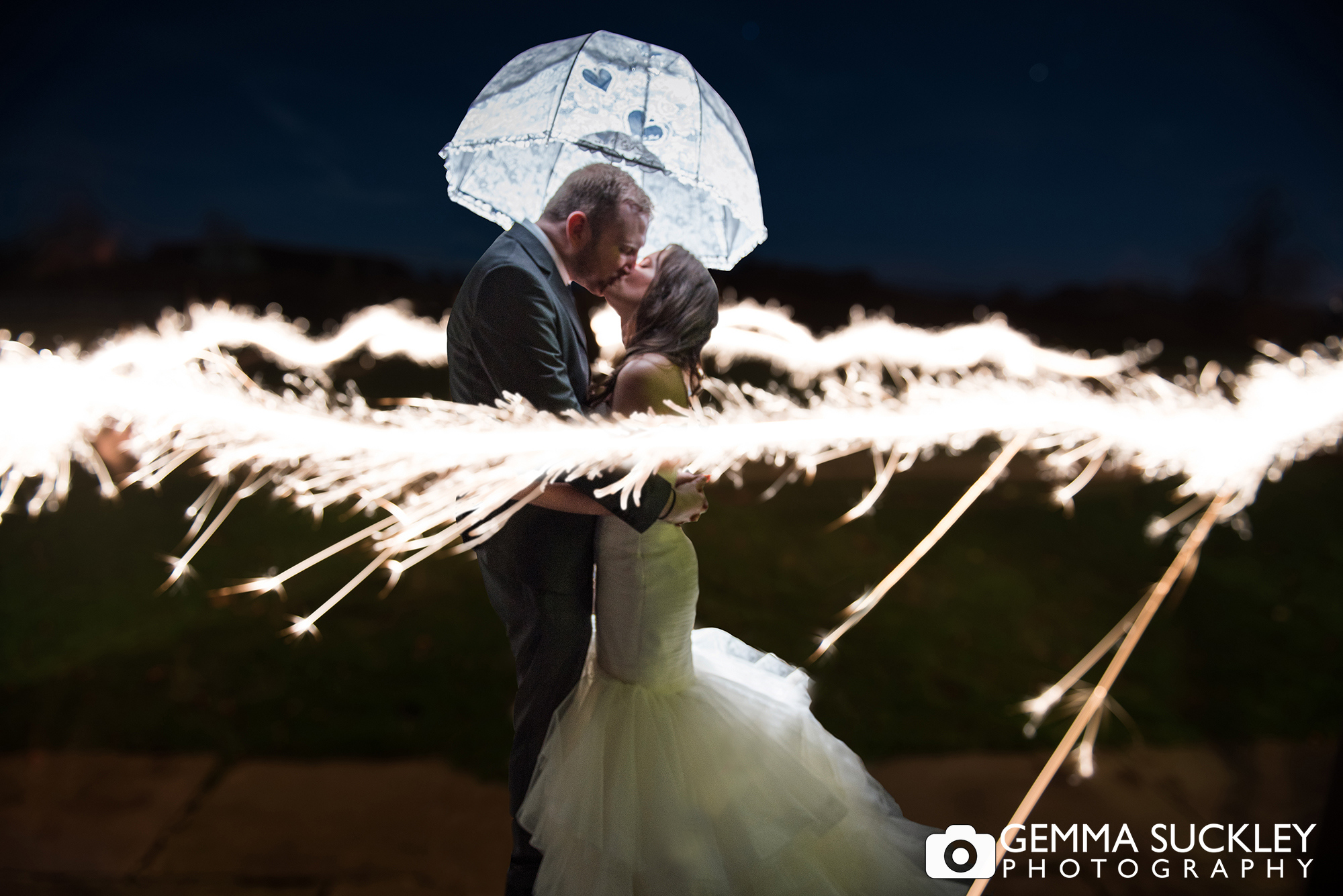 Coniston Hall wedding photography at night with sparklers