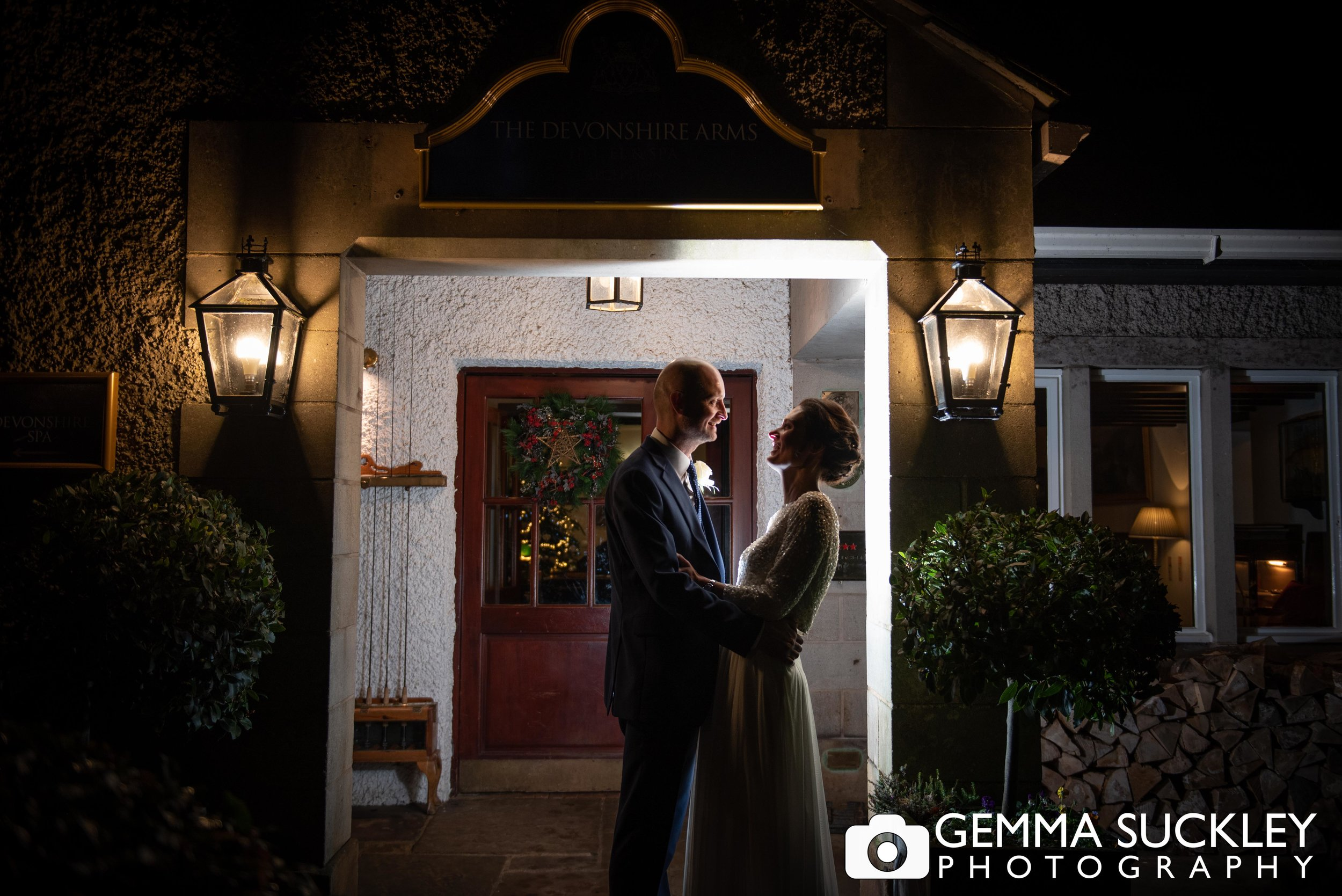 night photography of bride and groom outside the Devonshire Arms, Skipton