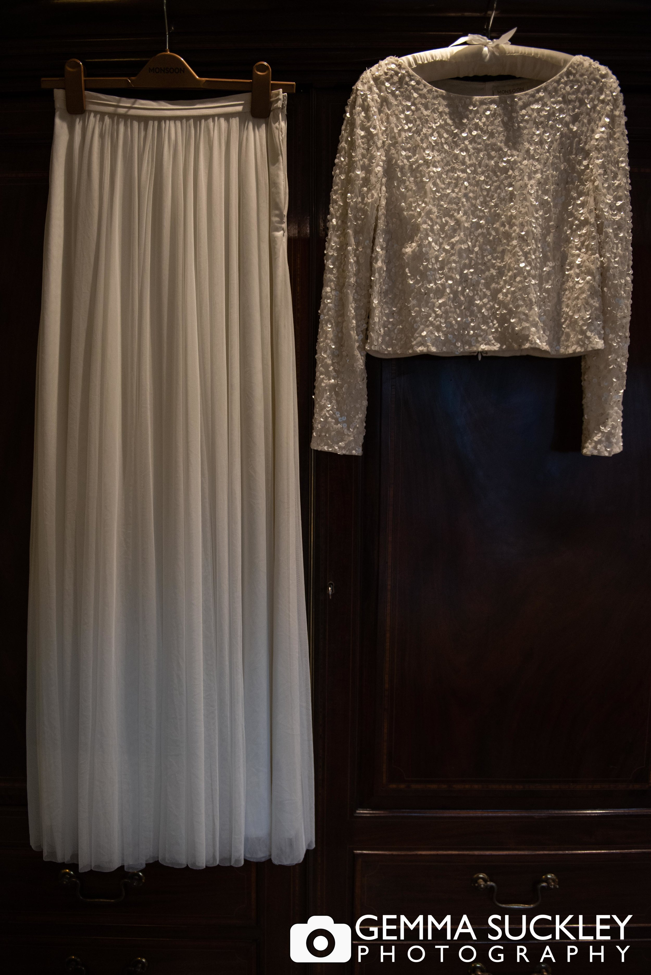 wedding photography of bridal skirt and top at Devonshire arms in bolton abbey